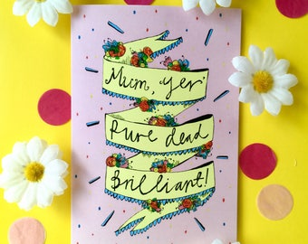 Day of the dead card etsy mum yer pure dead brilliant mothers day greetings card scottish slang typography quirky mothers day card humour funny card for mum m4hsunfo