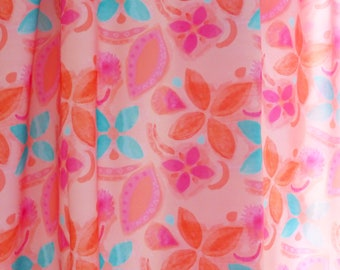 Bright pink and turquoise tropical flower fabric / hand painted watercolour design / silky soft fabric / dressmaking & soft furnishing