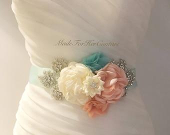 Peach Aqua Wedding Sash, Maternity Dress Sash, wedding belt Sash, bridal sash/belt, Bridal Belt, Satin Ribbon Sash, Bridesmaid Sash/Belt