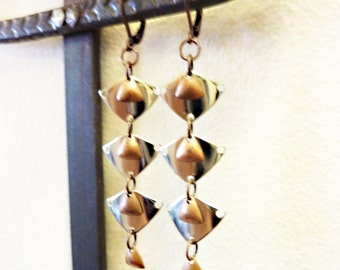 Silver & Copper Stacked Triangle Dangle Earrings, Vintage Mixed Metals, Industrial, Deco Double Shield Earrings, LAST PAIR