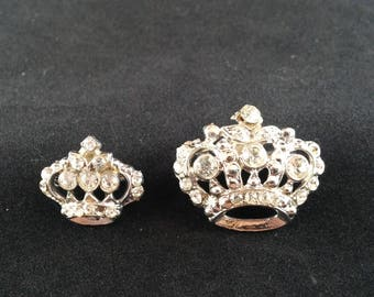 Vintage Pair of Rhinestone Pins, Brooch, Crowns, Jewelry, 1950