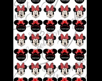 35 Minnie Mouse Edible Wafer Rice Paper Cupcake Cake Toppers Decoration Personalised