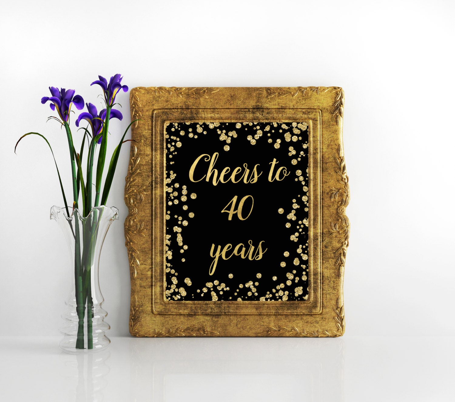 Printable Sign Cheers to 40 Years 40th birthday decoration