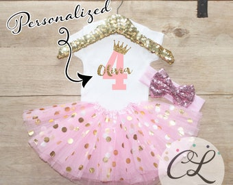 Fourth Birthday Shirt Outfit / Baby Girl Clothes 4 Year Old Tutu Outfit Four Birthday Set 4th Birthday Girl Outfit Bow Princess Crown 067