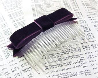 Eggplant Velvet Bow Hair Comb.Eggplant Velvet Bow Hair Clip.Amethyst. Aubergine.Plum Purple.Wedding.Bridesmaid.Headpiece.Fascinator.Hair Bow