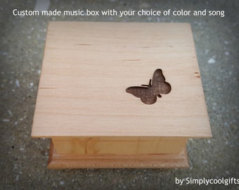 butterfly, music box, girls gift, wooden music box, custom made music box, butterfly gift, personalized music box, Simplycoolgifts