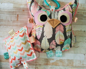 Baby Girl toys -  Owl toys, - Gifts for her - Christmas Gifts - woodland toys - crinkle toys -  Personalized toys