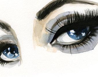 Blue eyes Illustration, Fashion Illustration Print, Watercolor Print, Eyeliner Art, Fashion Wall Art, Beauty Illustration, Liz Taylor Print