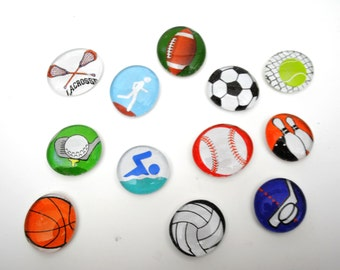 large SPORTS SET magnets or push pins - 2018 perpetual calendar, soccer, football, basketball, athletic, high-school, baseball,swimming,golf