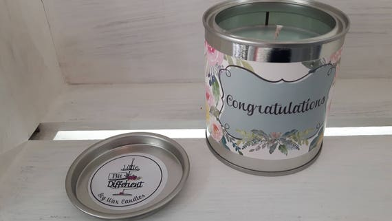 Congrtaulations candle. Cake scented. Vegan candle. Welsh candle.  Soy wax candle.  Congratulations.  Handmade in Wales, UK