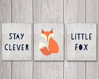 Fox Nursery Decor (Set of 3) - 8x10 Stay Clever Little Fox, Nursery Art, Nursery Decor, Woodland Nursery, Nursery Wall Decor