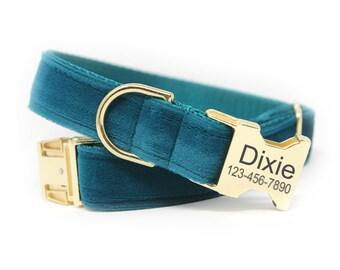 Velvet Dog Collar, Engraved Velvet Dog Collar, Teal Velvet Dog Collar