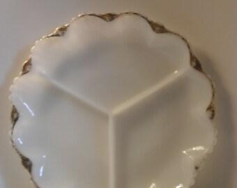 Gold-rimmed vintage milk-glass divided platter-Shabby Chic