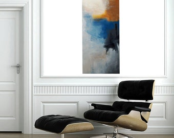 """Contemporary Original Abstract Wall Art """"Distant Emotions"""" - fine art 40""""x16""""-Blue, Black, White"""