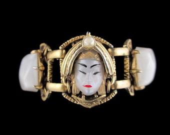 Selro Asian Princess Bracelet/ Selro Pearly Moonglow Asian Princess Bracelet / Chunky Gold Tone Bracelet