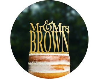 Mr And Mrs Last Name Cake Topper Gold Cake Topper Glitter Cake Topper Gold Wedding Last Name Topper Monogram Cake Topper Bridal - (T014)