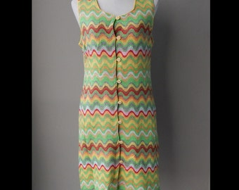 Colorful Chevron Knitted Day Dress Bust 36 Waist 32 Hip 38