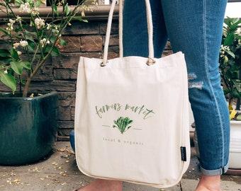 Reusable Grocery Bag Farmers Market, Zero Waste, Eco Friendly Produce Bags, Organic, Canvas Tote, Canvas Bag,  Farmhouse Decor Organic Herbs