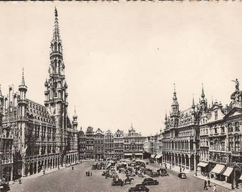 Brussels, Hotel de Ville of Grand Place, Vintage Postcard, Set of Two Vintage Postcards, Black and White Photographes, Travel Souvenir