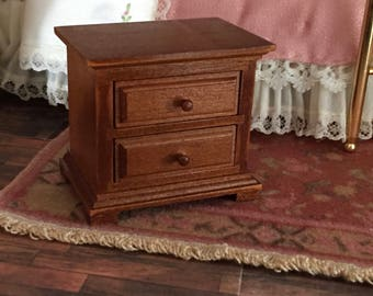 Miniature Nightstand, Wood Nightstand by Reutter Porcelain, Dollhouse Miniature Furniture, 1:12 Scale, 2 Drawer Walnut Night Stand