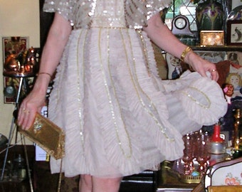 Original Vintage 1990's tulle, silk satin, net & embellished 'The Price of Fame' art deco style fan dress by Alannah Hill size: SMALL + cape