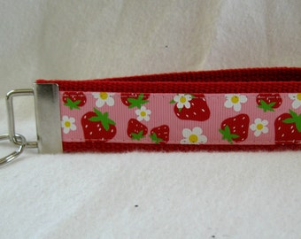 Strawberry Key Fob - Flowers Key Chain - Wristlet RED - Strawberries Key Ring - Large Fabric Fob