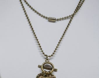 Lovely Bronze Tone Charm Necklace