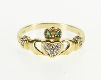 10K Diamond Emerald Traditional Irish Claddagh Ring Size 10 Yellow Gold