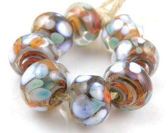 Autumn Harvest Made to Order SRA Lampwork Handmade Artisan Glass Donut/Round Beads Set of 8 8x12mm