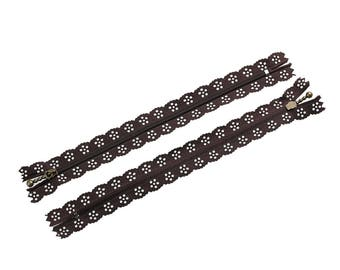 x 1 Brown polyester lace 20 cm not separable zipper