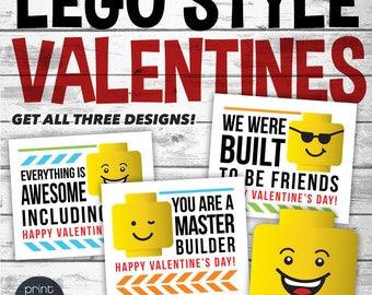 Printable LEGO Valentines Day Card - Printable Valentine - School Valentines Day Card - LEGO Valentines - Preschool Valentines