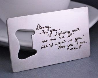 Custom Handwriting Bottle Opener, Stainless Steel Personalized Gift for Husband, Custom Writing Engraved Gift