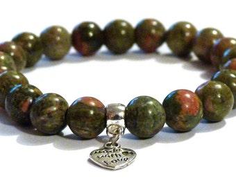 Unakite Scorpio Self-Acceptance Crystal Healing Gemstone Bracelet Amelie Hope Crystals Power Bead