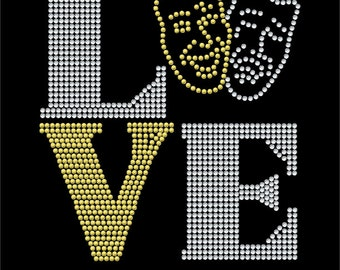 Love Square Drama / Theathre  - 2 color iron on rhinestone transfer