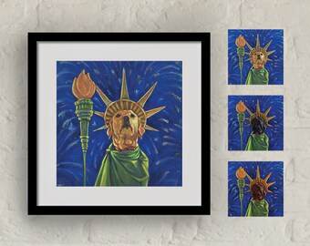 "Framed ""Lady Liberty"" Print Labrador Retriever Art 16""x16"""