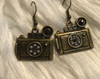 Cute bronze color camera earrings