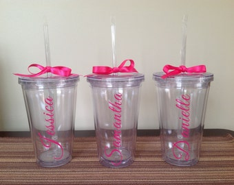 Tumbler with Name Placed Vertically