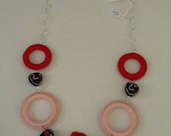 Necklace Circles and Crochet hearts