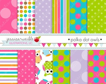 Polka Dot Owls Cute Digital Papers for Commercial or Personal Use, Owl Papers, Owl Patterns
