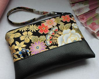 Zippered coin purse / wrislet pouch / card case - Minako black