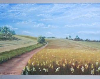 ORIGINAL pastel field drawing / landscape painting, field, nature art, morning walk