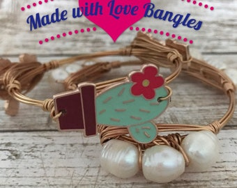 Cactus Bangle Bracelet  *Bourbon and Boweties Inspired* Three Stone Bangle
