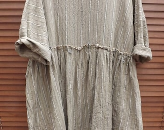 RITANOTIARA European washed Linen boho brown stripe empire line dress raw edges lagenlook beach layering All SIzes prairie made to order
