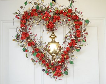 Red Heart wreath - red roses - Valentines Day wreath - Grapevine heart wreath