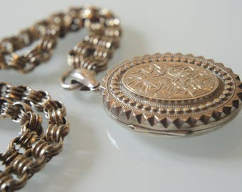 Victorian sterling silver large oval locket and bold book chain, 1882, Birmingham