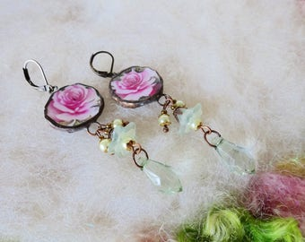 Broken China Jewelry Broken China Earrings Recycled Glass Broken Plates Cups Mosaic Pottery Vintage Pink Rose