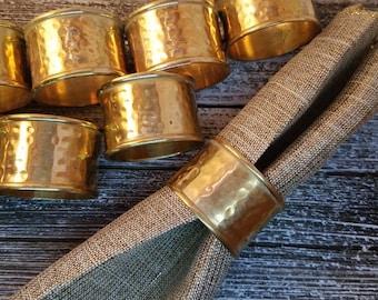 Napkin Rings, Brass Napkin Rings, Set 12 Vintage Brass Napkin Ring Holders, Metal Napkin Rings, Vintage Napkin Rings Cottage Chic Home Decor