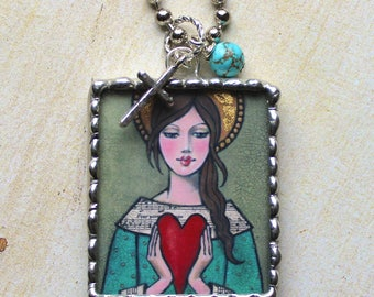 Angel Heart Soldered Pendant Necklace from original painting by Maggie Raguse