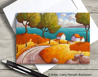 Seaside Road Cottages Greeting Card, Scenic Coastal Summer Cottage Artwork, 5x7 Art Card Suitable for Framing, Artist Cathy Horvath Buchanan