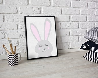 Nursery print - Bunny print - rabbit print - some bunny loves you print - girls room print - baby girl print - nuresry room print